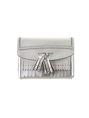 BURBERRY - METALLIC SILVER BAG WITH BROGUE DETAIL
