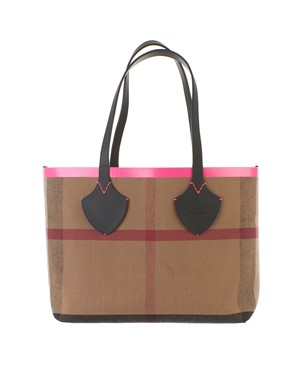 BURBERRY - LEATHER AND CANVAS THE GIANT MEDIUM TOTE BAG