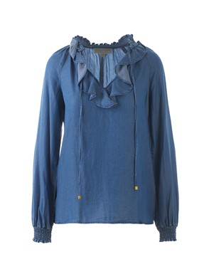 MICHAEL KORS - RUCHED DENIM BLOUSE