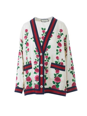 GUCCI - SILK CARDIGAN WITH ?ROSE GARDEN? PRINT