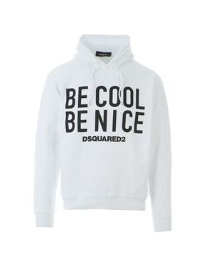 D.SQUARED - WHITE ?BE COOL BE NICE? HOODIE