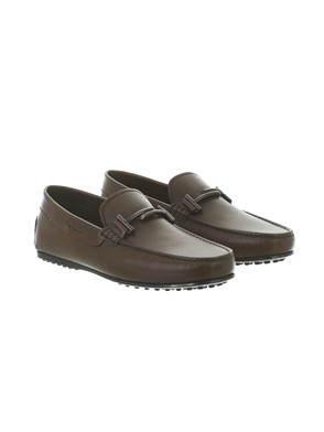 TOD'S - BROWN LEATHER LOAFERS