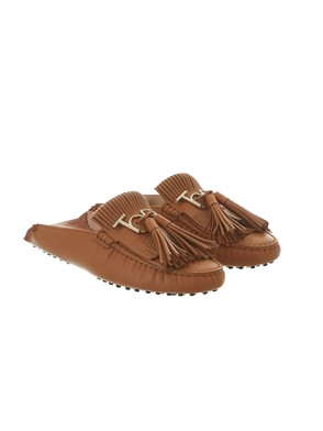 TOD'S - BROWN FRINGED LOAFERS
