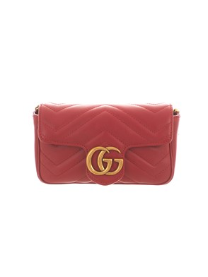 GUCCI - RED MINI GG MARMONT QUILTED BAG