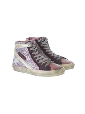 GOLDEN GOOSE - PLUM GLITTER SLIDE SNEAKERS