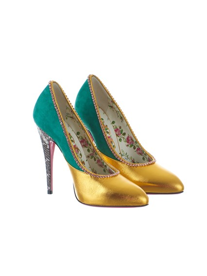 53bfe8b16402c8 gucci GREEN AND GOLD SNAKESKIN PUMPS available on lungolivigno.com ...