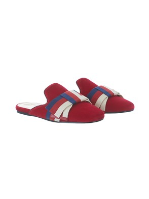 GUCCI - RED VELVET SYLVIE  WEB SLIPPERS WITH BOW