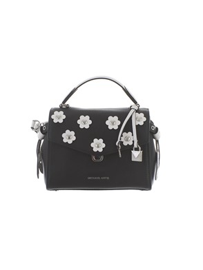 MICHAEL KORS - BLACK FLORAL STUDDED BRISTOL BAG