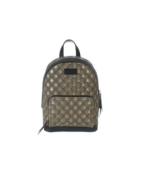 GUCCI - BLACK AND BEIGE BEES GG SUPREME BACKPACK