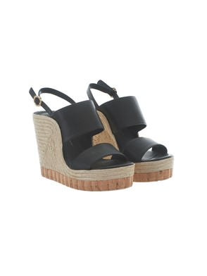 SALVATORE FERRAGAMO - BLACK MARATEA WEDGE SANDALS