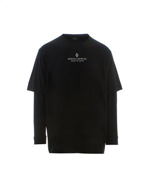 MARCELO BURLON - BLACK OVERSIZE T-SHIRT