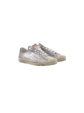GOLDEN GOOSE - WHITE AND SILVER V-STAR SNEAKERS