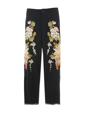 GUCCI - BLACK PANTS WITH FLORAL EMBROIDERY