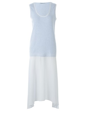 AGNONA - LIGHT BLUE SILK AND CASHMERE DRESS