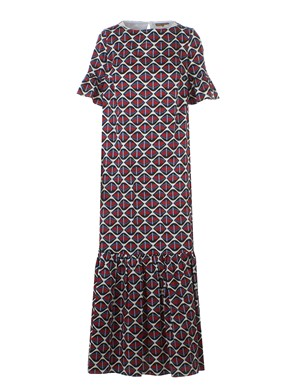 FAY - LONG DRESS WITH GEOMETRIC PATTERN