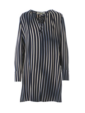 DIANE VON FURSTENBERG - KEYHOLE STRIPED DRESS