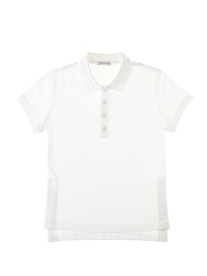 MONCLER - WHITE POLO WITH SLITS