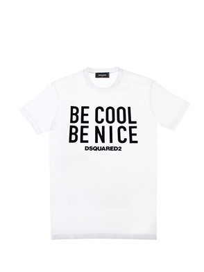 D.SQUARED - BLACK AND WHITE ?BE COOL BE NICE? T-SHIRT