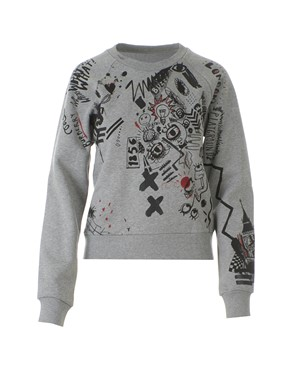 BURBERRY - GREY AND RED DRAWINGS SWEATSHIRT