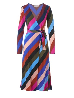 DIANE VON FURSTENBERG - MIDI WRAP DRESS WITH MULTICOLOR PATTERN