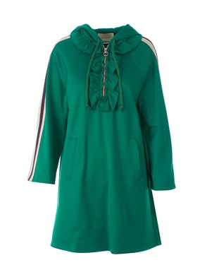 GUCCI - JERSEY DRESS WITH GREEN HOOD