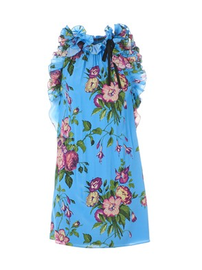 GUCCI - LIGHT BLUE FLORAL RUCHED DRESS
