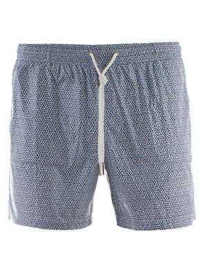 ELEVENTY - BLUE AND WHITE SWIM BOXER PANTS