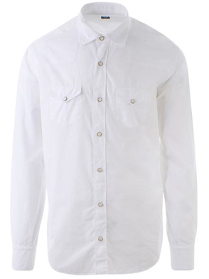 ELEVENTY - WHITE SHIRT WITH SNAP FASTENERS