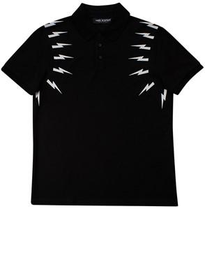 NEIL BARRET - BLACK LIGHTNING POLO SHIRT