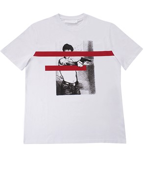 NEIL BARRETT - WHITE PRINTED T-SHIRT