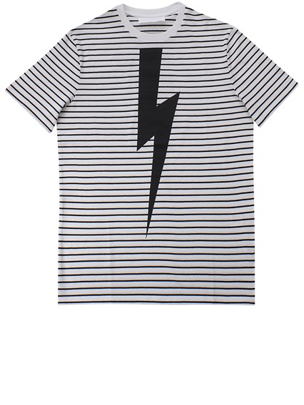 NEIL BARRETT STRIPED PRINTED T-SHIRT