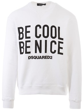 D.SQUARED - ?BE COOL BE NICE? BLACK AND WHITE SWEATSHIRT