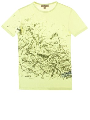 BURBERRY - NEON YELLOW DRAWINGS T-SHIRT