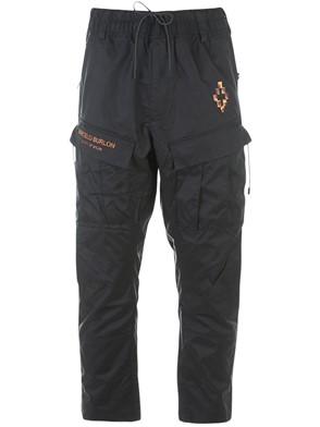 MARCELO BURLON - BLACK FIRE CROSS PANTS