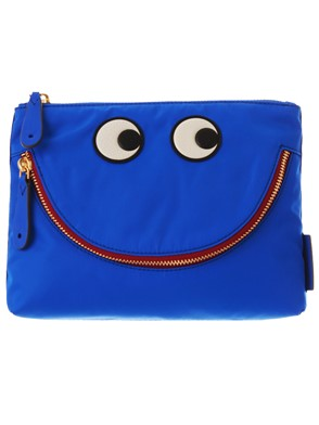 ANYA HINDMARCH - BLUE HAPPY EYES POUCH