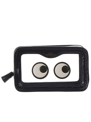 ANYA HINDMARCH - BLACK AND SEE-THROUGH EYES RAINY DAY MAKE UP POUCH