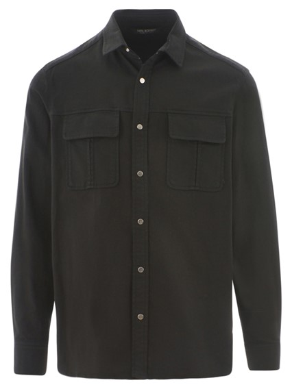 NEIL BARRETT BLACK GANG WORKWEAR SHIRT