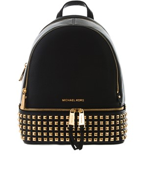 MICHAEL KORS - BLACK AND GOLD RHEA BACKPACK