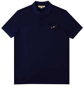 BURBERRY - BLUE BURNTON POLO SHIRT