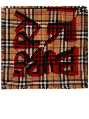 BURBERRY - BROWN AND RED SCARF
