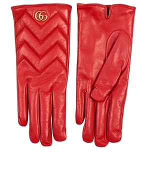 GUCCI - RED GG MARMONT GLOVES