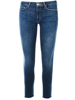 MOTHER JEANS - BLUE ANKLE FRAY SKINNY JEANS