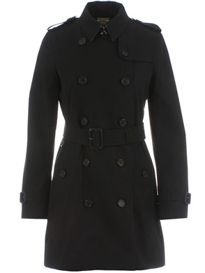 BURBERRY - BLACK KENSINGTONMID TRENCH COAT