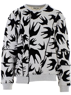 McQ ALEXANDER MCQUEEN - BLACK AND GREY CUT UP COVERLOCK SWEATSHIRT