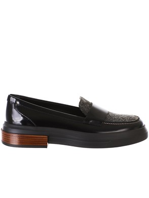 TOD'S - BLACK FLANNEL LOAFERS