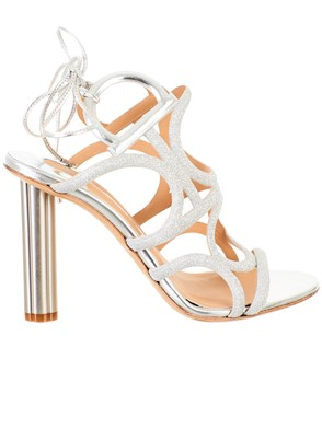 SALVATORE FERRAGAMO - LEATHER AND FABRIC SANDALS