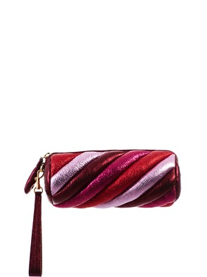 ANYA HINDMARCH - GOLD AND RED MARSHMALLOW CLUTCH