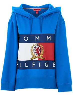 HILFIGER COLLECTION - FELPA CAPPUCCIO LOGO BLU