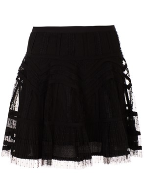 RED VALENTINO - MINI GONNA PIZZO NERA