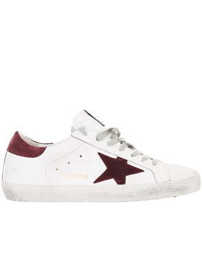 GOLDEN GOOSE DELUXE BRAND - WHITE AND BURGUNDY SUPERSTAR SNEAKERS